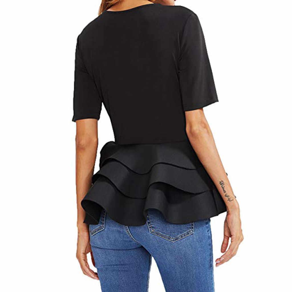 Damska koszulka z krótkim rękawem w stylu Vintage, z falbaną, z falbaną
