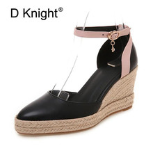 Size 32-44 Women's Wedge Espadrille Sandals Ankle Strap Comfortable High Heel Ladies Women Casual Shoes Soft Leather White Pumps