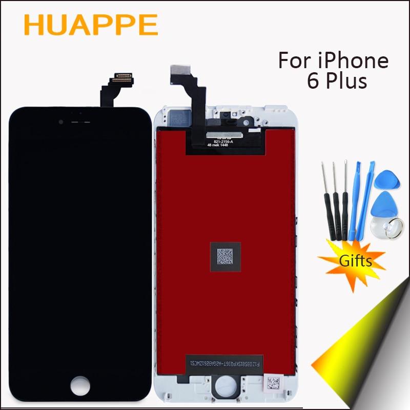 imágenes para Aaaa alta calidad definición sin pantalla de píxeles muertos de iphone 6 plus pantalla táctil lcd con digitalizador reemplazo negro blanco
