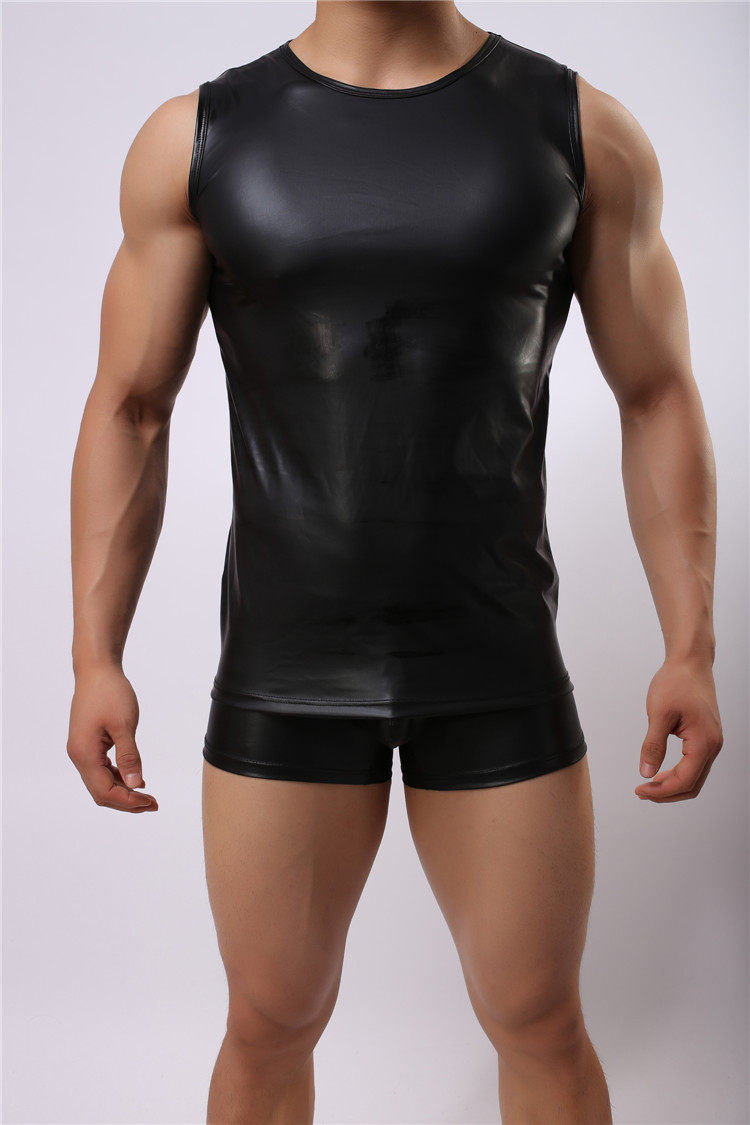 Hot Men Sexy Leather Vest Mens Sexy Vest Faux Leather Solid Color Black Male Tank -7859