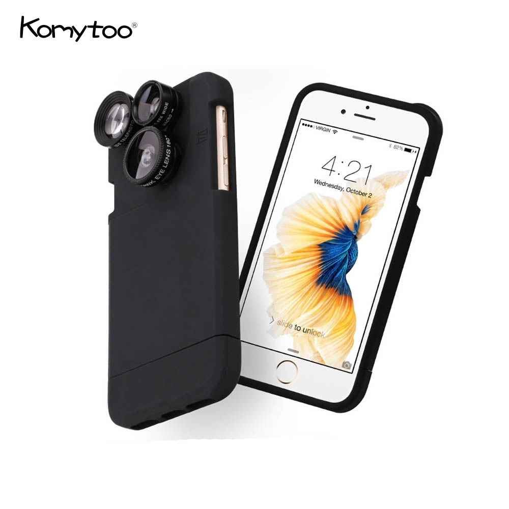 Universal Clip Mobile Phone Lens 4 in 1 For iPhone 6 6 PLus 6s 6s Plus Phone Fish eye Camera Lens Wide Angle Micro 2x Zoom