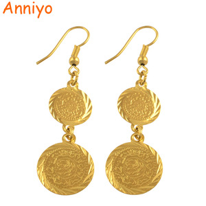Image 1 - أقراط عملات معدنية عربية للنساء باللون الذهبي مجوهرات إسلام الشرق الأوسط للبيع بالجملة طراز #004306
