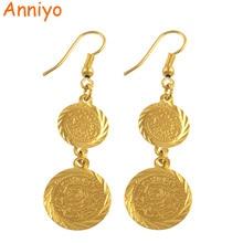 Anniyo อาหรับเหรียญต่างหูผู้หญิงสีอิสลามตะวันออกกลางขายส่งเครื่องประดับมุสลิมอาหรับหมายเลข #004306