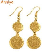 Pendientes de monedas árabes Anniyo para mujeres, color dorado, islam, Oriente Medio, joyería al por mayor, artículo árabe musulmán #004306