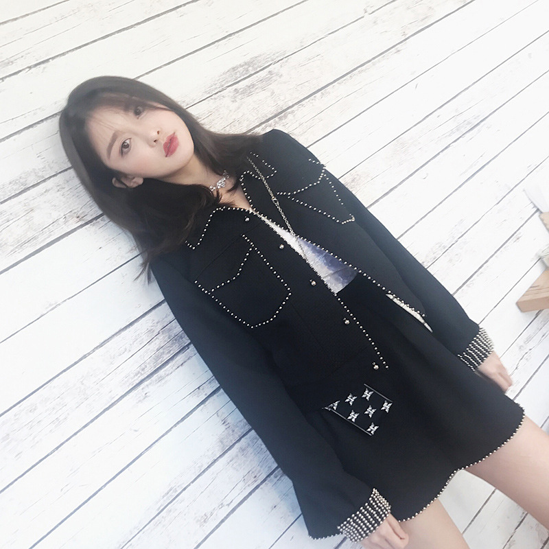 Set female 2019 spring and autumn new short paragraph casual jacket skirt two sets of temperament solid color women's clothes