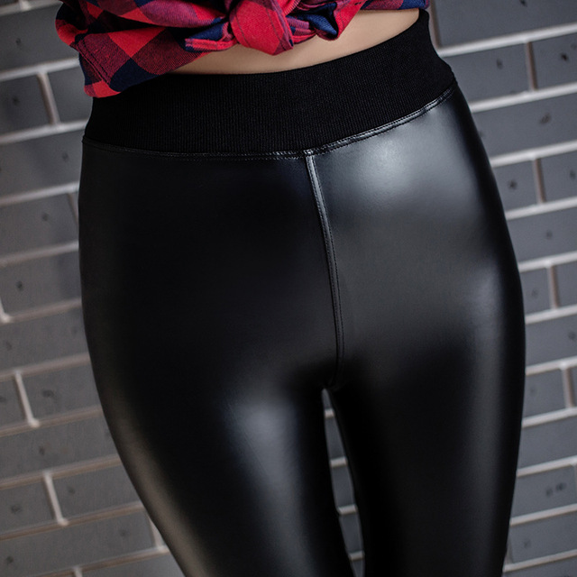 Fall New Tide Fashion Women Thread Waist Magic PU Leather Leggings Pants close-fitting Slim Leggings Full Elastic Trousers Women