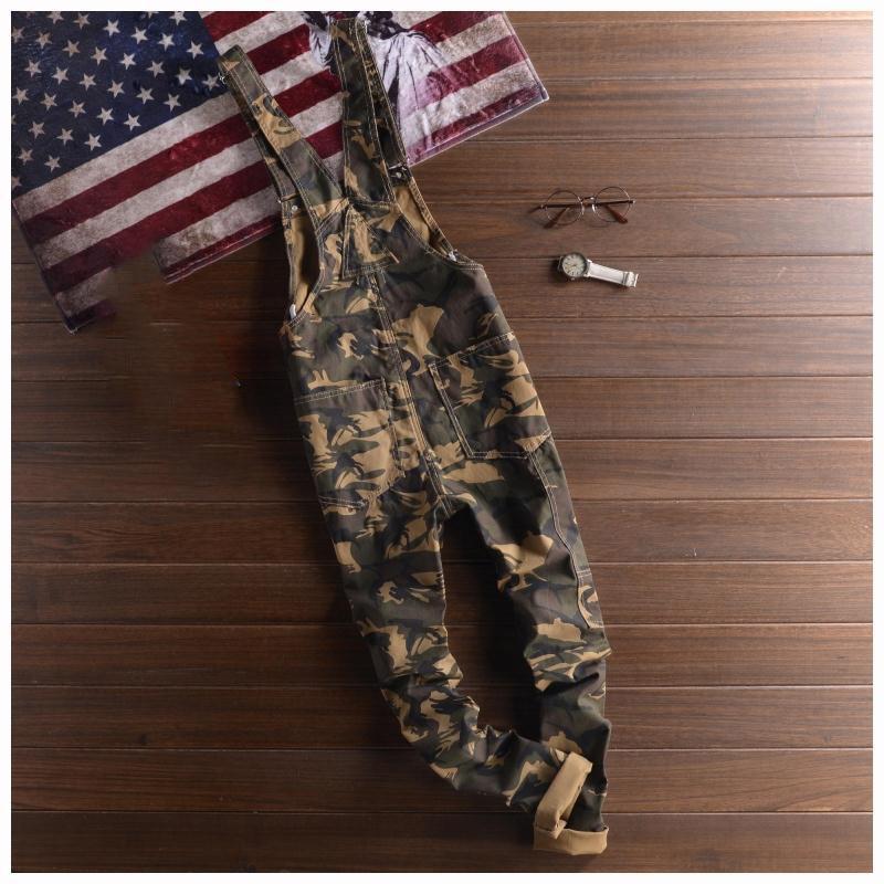 Mens Ejército 2018 Jeans Primavera Overalls Del Bib Nuevo Verde Monos Delgado Denim Recto Pantalones Moda Casual Camuflaje Twill Estirada rErT0Bn