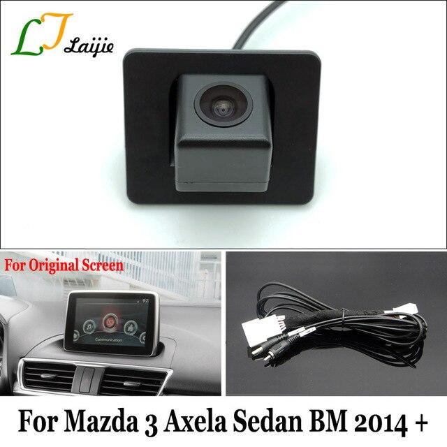 Laijie Backup Camera With Adapter Cable For Mazda 3 Mazda3 Axela Sedan BM 2014~2017 / OEM Monitor Compatible Rear View Camera
