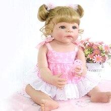 55CM lovely Silicone Reborn Baby Doll Girl Toys 22inch Lifelike Babies Boneca Full VInyl Fashion Dolls Bebe Reborn Menina 2018 doll baby d040 55cm 22inch npk doll bebe reborn dolls girl lifelike silicone reborn doll fashion boy newborn reborn babies