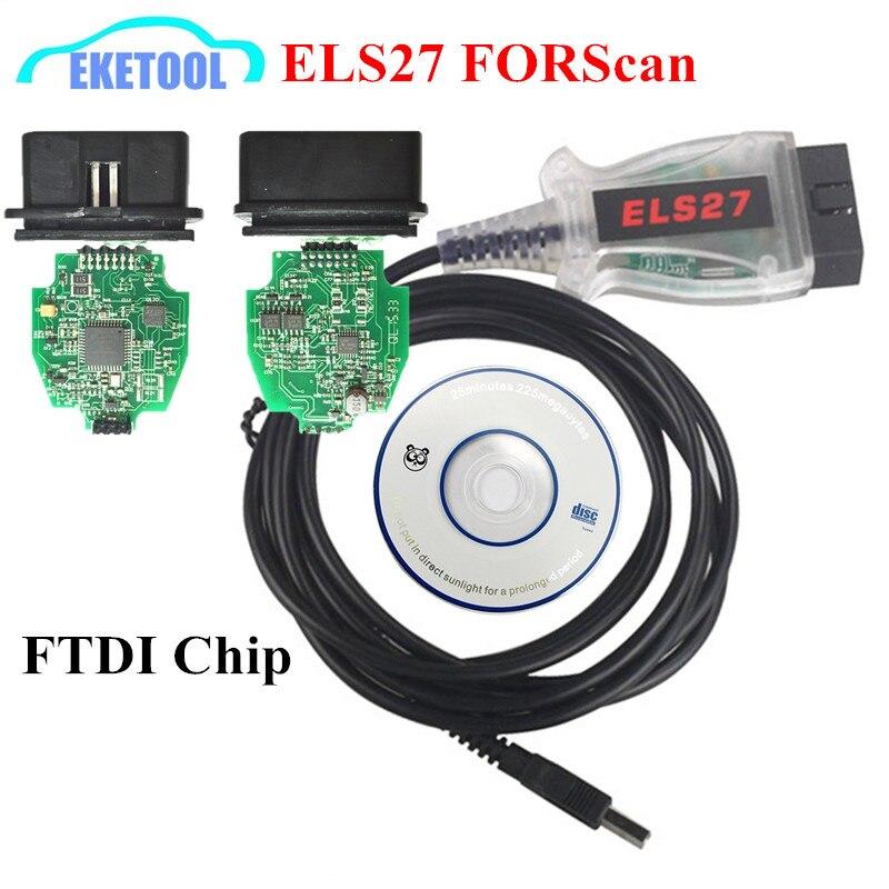 Prix pour Top Vente Nouvelle Génération ELM327 ELS27 FORScan Vert PCB + FTDI Puce de Haute Qualité Pour Ford/Mazda/Lincoln/mercure Véhicules