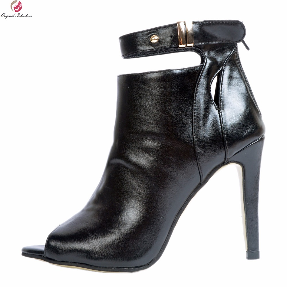 Original Intention New Cool Women Ankle Boots Fashion Peep Toe Thin High Heels Boots Sexy Black Shoes Woman Plus US Size 4-15 2017 new european and american romantic pop black magazine cool shoes sexy fashion hollow women boots fashion summer boots