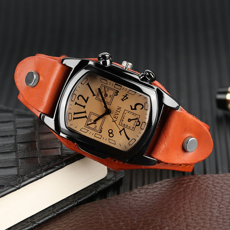 Hot Sale KEVIN Quartz Watches for Men Creative Arabic Number Rectangle Dial Leather Band Strap Male Clock for Fashion Gifts (22)