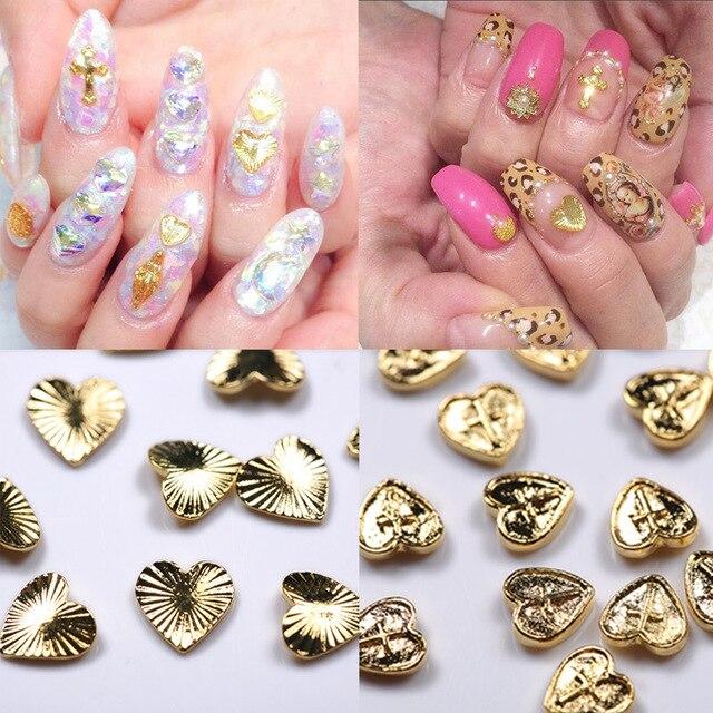 12 Stks 3d Nail Art Decoraties Gouden Hart Metal Nail Art Sticker