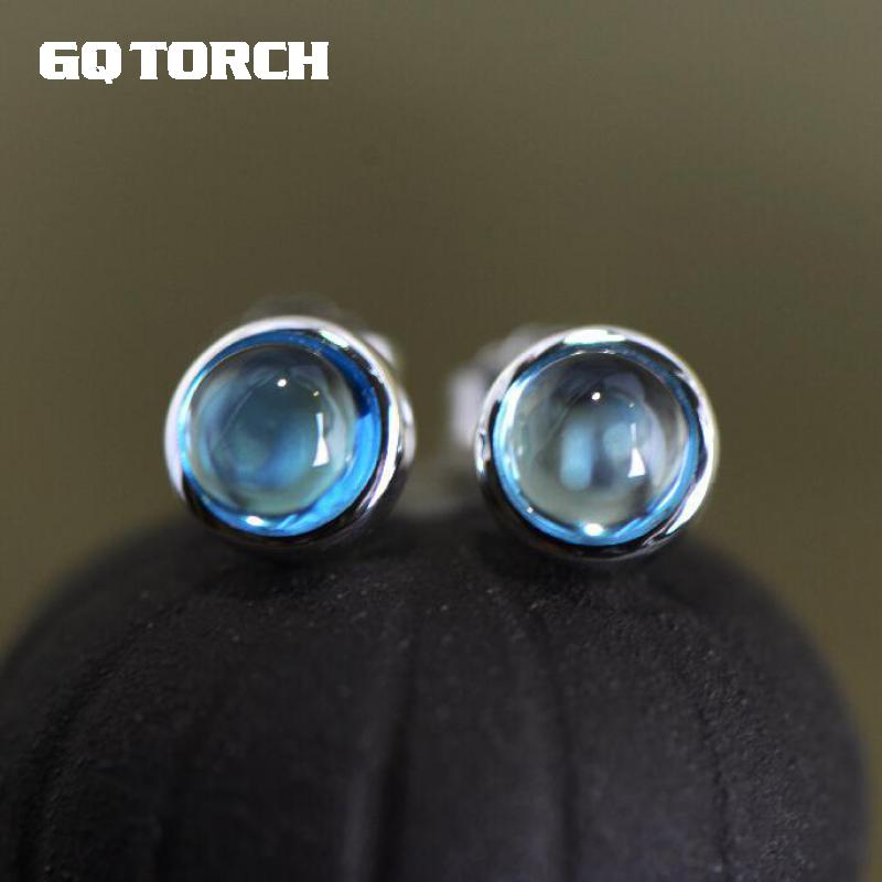 GQTORCH Real 925 Sterling Silver Blue London Topaz Earrings For Women Natural Stone Elegant Simple Design Vintage Brinco Prata 3 10 years old skinny kid imitation leather pants girl leggings baby pants kids leggings girls children fashion legging