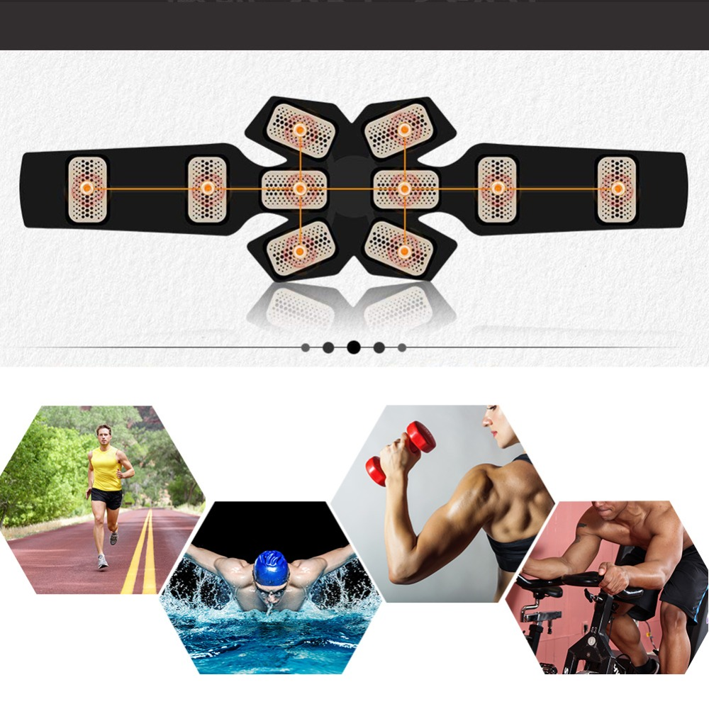 Vibration Abdominal Muscle Trainer Smart Wireless EMS Abdominal Muscle Belt Body Slimming Fat Burning Home Gym Fitness Equipment in Vibration Fitness Massager from Sports Entertainment