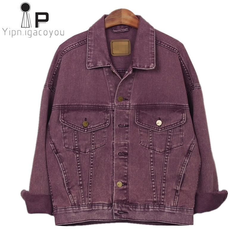 Harajuku Spring Denim Jacket Women 2018 Big Size Vintage Purple Jeans Jackets Female Ladies Casual Basics Coat Women Streetwear(China)