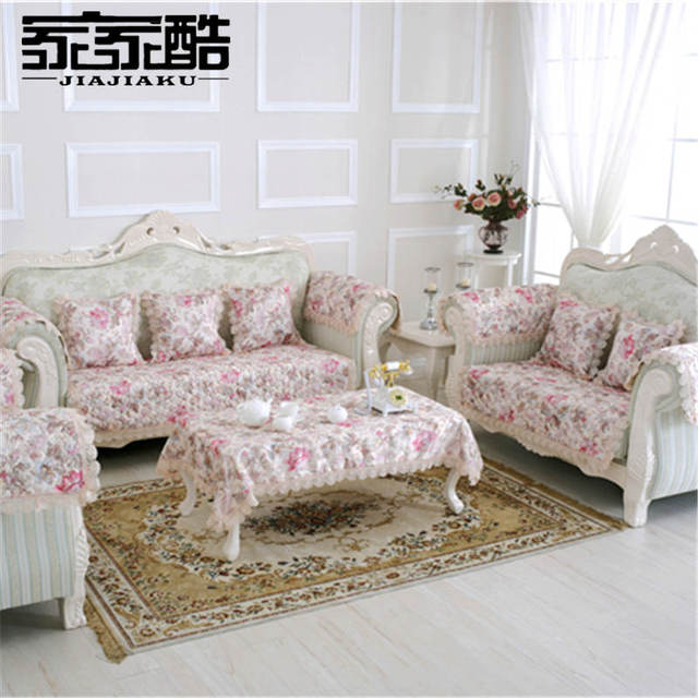 Jiajiaku Brand Customized European Sofa Cover Satin Jacquard Continental Quilted Mats Furniture Cotton Slipcovers Couch Slips