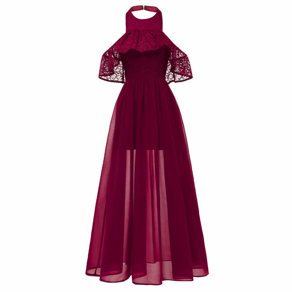 Sensfun Burgundy Women Long Dress Vintage Dress Sexy HalterVestido Audrey Hepburn Robe Retro Rockabiliy Floor Length Chiffon