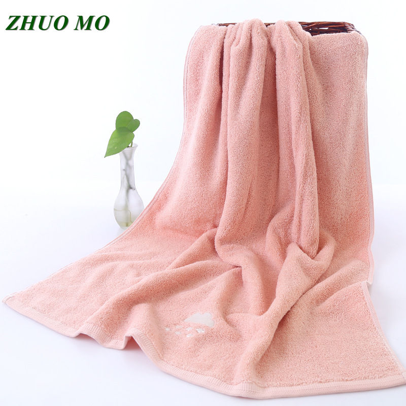 500g Solid color embroidered pink vs blue Bath Towels bathroom 70*140cm Luxury Solid Towels for Adults for SPA Men Women Towel