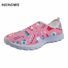 INSTANTARTS Funny Cartoon Dental Equipment Pattern Women Summer Flats Shoes Fashion Dentist Nursing Floral Sneakers Slip on Flat