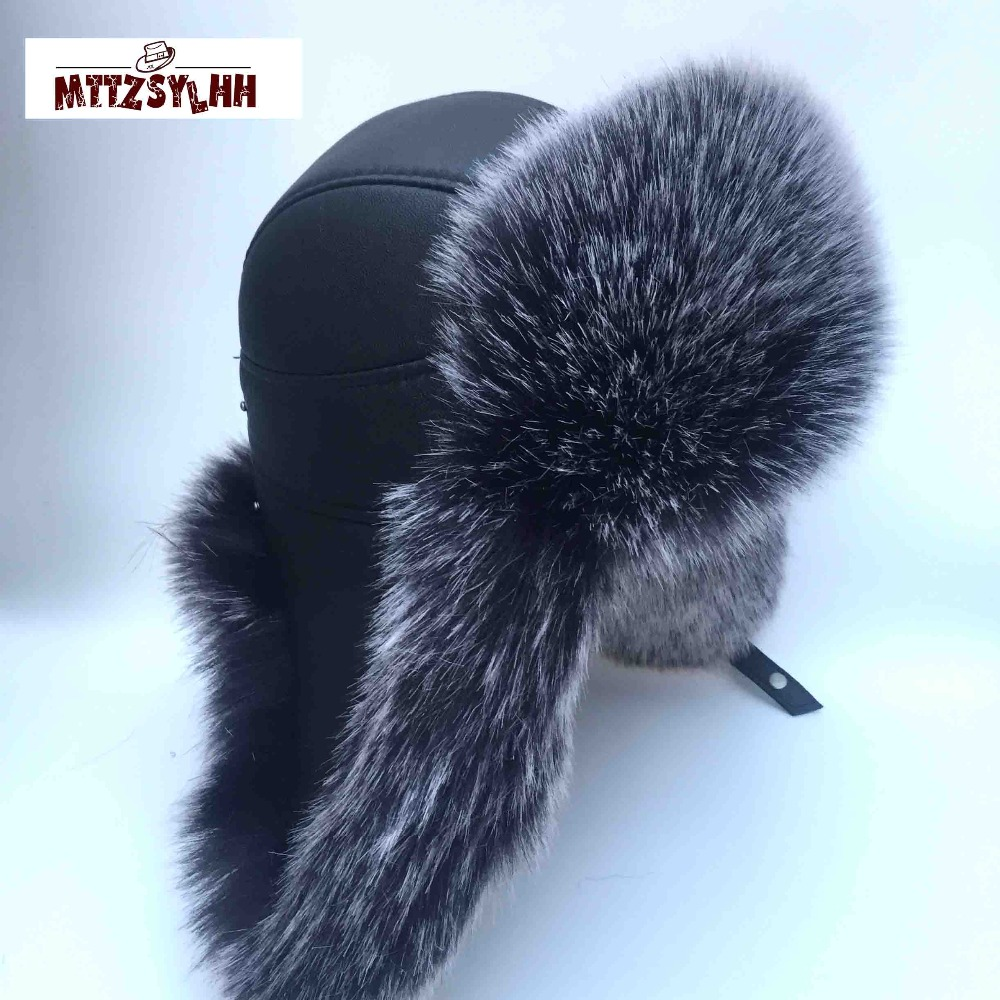 MTTZSYLHH Men's Pilot Hat Fox Fur Russian Winter Hat Warm Upscale Ears Bombshell Artificial Leather Free Shipping(China)
