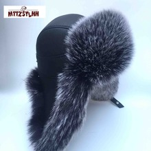 MTTZSYLHH Men's Pilot Hat Fox Fur Russian Winter Hat Warm Up