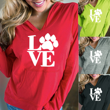 Fashion LOVE Bear Claw Print Women Hoodies Spring Patchwork Long Sleeve Hooded Casual Hoody 4 colors Pullover Sweatshirts  2017