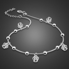 hot deal buy fashion crown pendant anklets.women solid 925 silver anklets simple crown pendant anklet solid silver chain jewelry best present