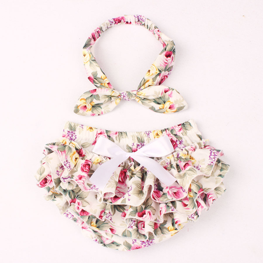 Floral Cotton Baby Bloomer & Headband Set Newborn Ruffle Diaper Cover with Headwrap Girls Baby Photo   Shorts   KS025