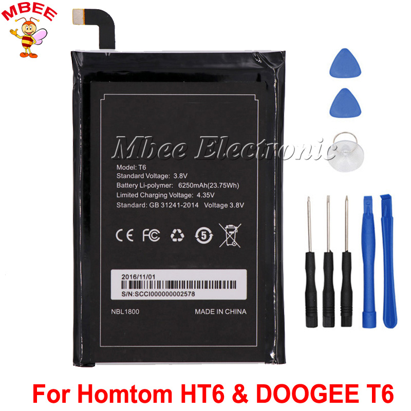 For Homtom HT6 Battery & For DOOGEE T6 Battery High Quality 6250mAh Bateria Accumulator For DOOGEE T6 Pro