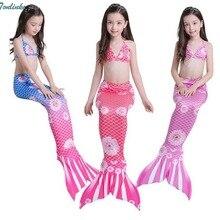 Tonlinker Princess children baby girls mermaid tails summer swimsuit costume 3ps swimming bikini kids beath suits Swimwear