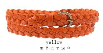 Горячая распродажа бренд ткачество из натуральной кожи тонкий пояса для женщин украшения фраке cummerbunds цвет полная длина 110 см - Цвет: Цвет: желтый