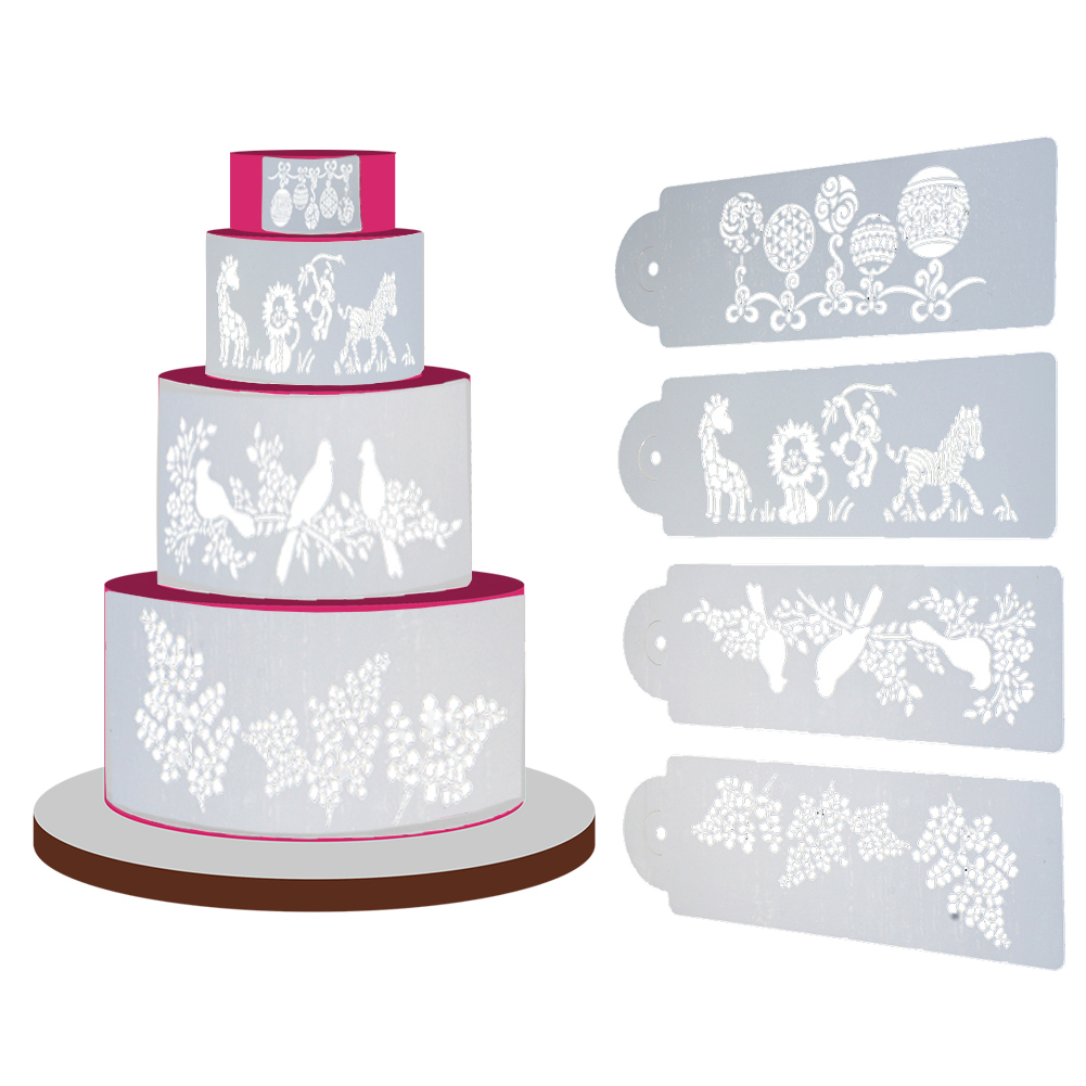 wedding cake stencils decorating 4pc set gear wedding cake stencil set metal parts craft 25702