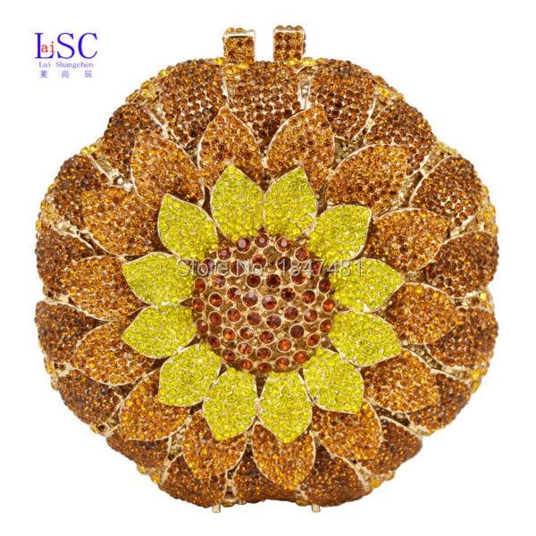 ФОТО LaiSC Circular Brown Crystal Evening Bag Flower Purse Women Prom Party Ladies Clutch Bag SC202-C