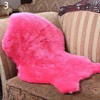 Washable Imitation Wool Carpet Chair Cover Bedroom Faux Mat Seat Pad Plain Skin Fur Plain Fluffy