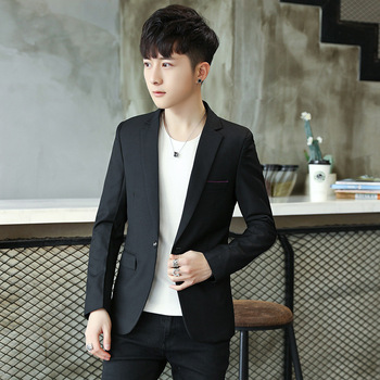 Fashion New Casual Single Button Mens Muits Men Blazers Long Sleeves Black Grey Red Suits Cotton Blazer