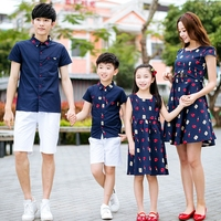 Fashion Summer Family Matching Clothing Dress Mother Daughter Dresses Cotton Father Son Sets Short Sleeve Shirt