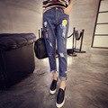 O Envio gratuito de 2016 mulheres Tornozelo-comprimento das Calças Zipper Fly High Regular de Xadrez Harem Pants Calças De Brim Pantalones Mujer Jean