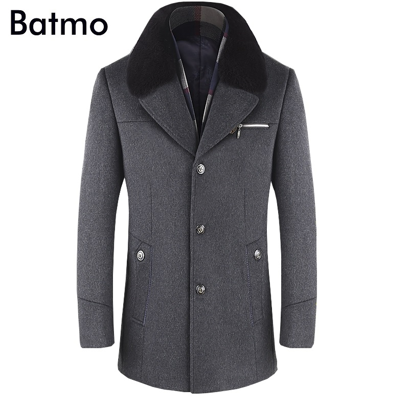 BATMO 2019 New Arrival Winter High Quality Wool Thicked Trench Coat Men,men's Gray Wool Jackets ,plus-size M-6XL,1659