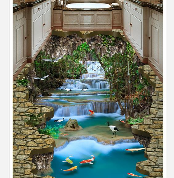 3d floor painting wallpaper Waterfall River Water Crane 3D Floor Painting pvc floor wallpaper 3d flooring koochi коляска трость sneaker