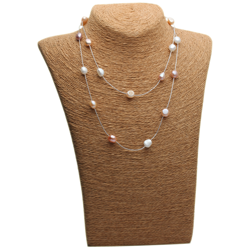 Genuine Freshwater Multi layer long pearl necklace woman wedding trendy natural pearl necklace girls jewelry white anniversary in Necklaces from Jewelry Accessories
