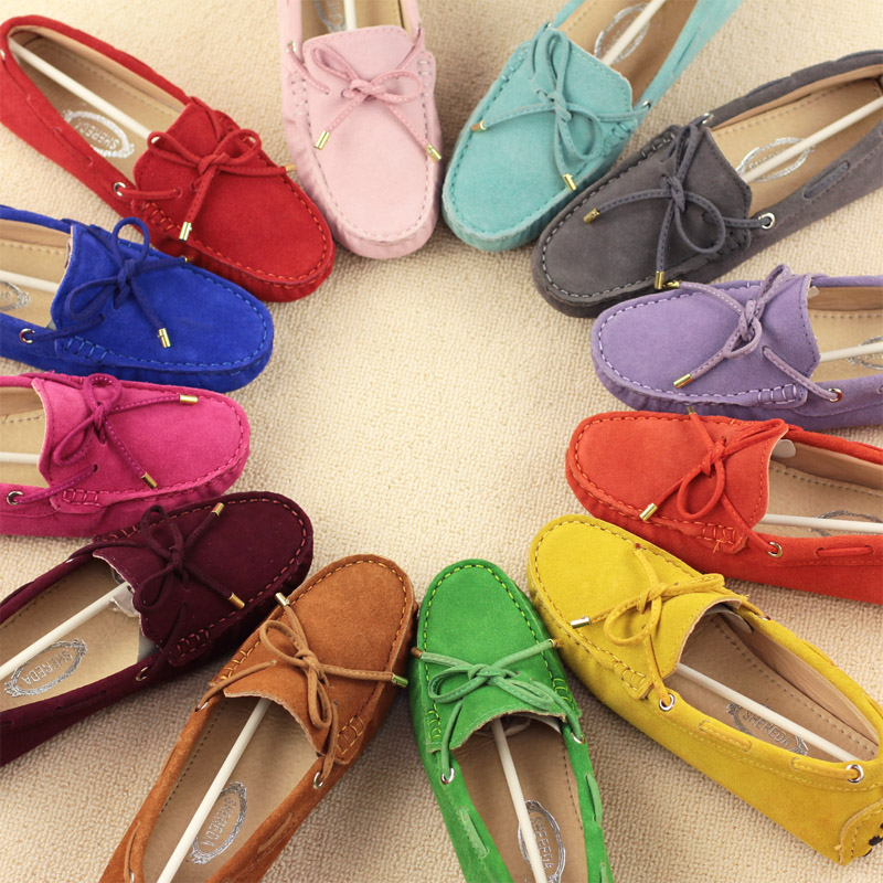 2020 Genuine Leather Women Flat Shoes Casual Loafers Slip On Women's Flats Shoes Moccasins Lady Driving Shoes