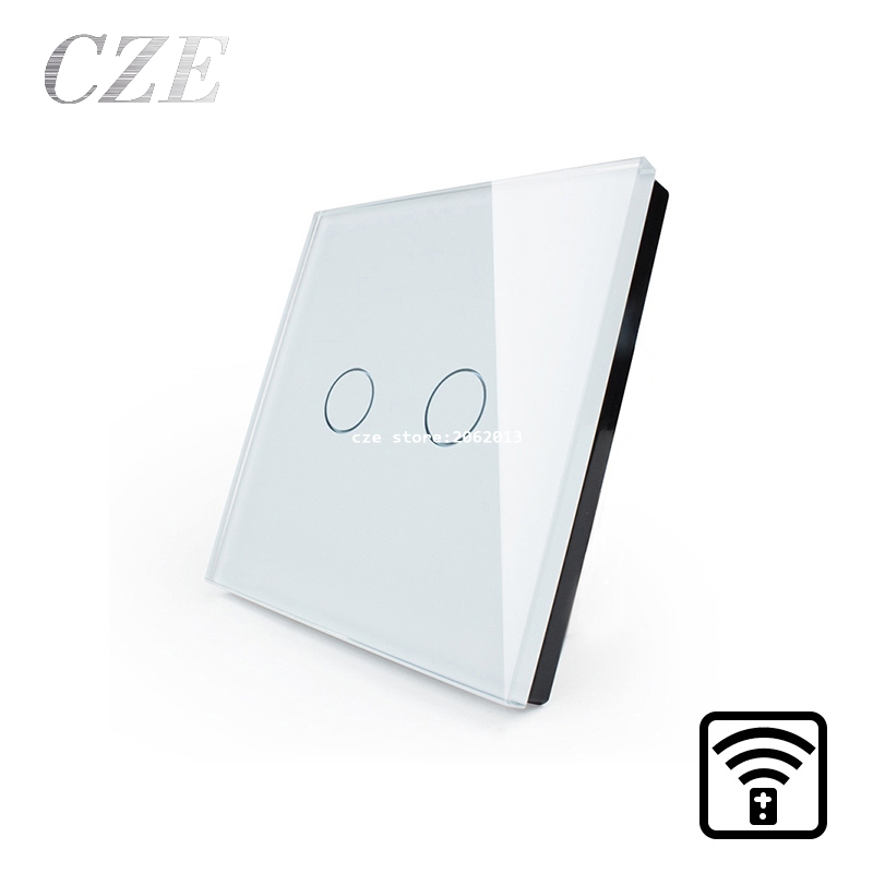 EU Standard 2 Gang 1 Way  Remote Control Touch Switch Crystal Glass Panel Wall Light Switches Smart Home Automation funry eu uk standard 1 gang 1 way led light wall switch crystal glass panel touch switch wireless remote control light switches