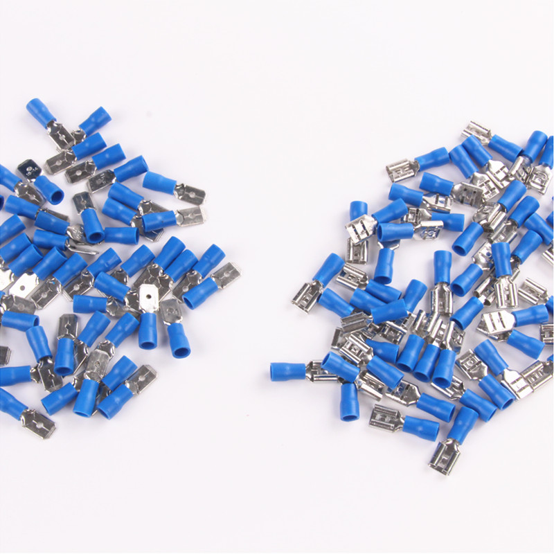 100PCS Female Male Blue 16-14 AWG Insulated Spade Crimp Terminals 1.5-2.5mm2 Electrical Connectors цена и фото