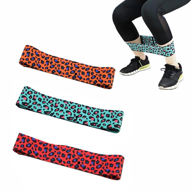 Unisex Leopard Print Yoga Squat Circle Loop Hips Resistance Bands Elastic Workout Fitness Equipment