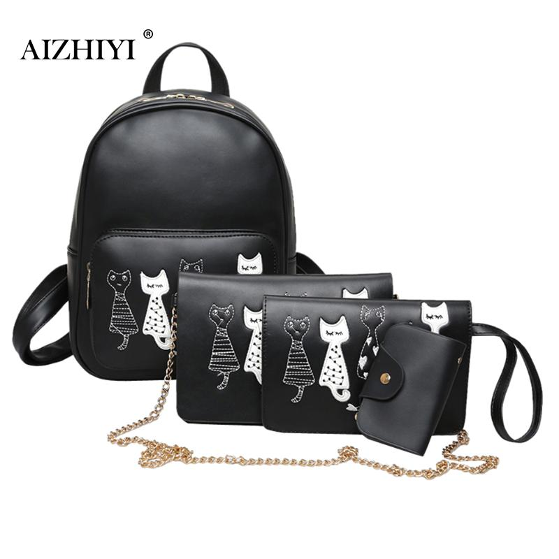 4pcs/set Women Backpack Cat Printed PU Leather Backpack Teenager Girls Backpacks Shoulder Bag Clutch Female Student School Bags