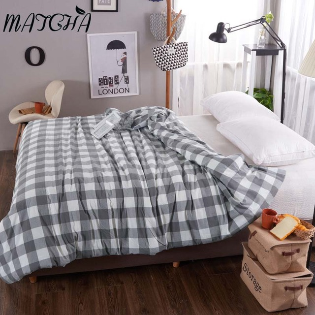 Matcha 100 Washing Cotton Duvet Cover Plaid Pattern Comfortable Comforter Case Quilt Twin