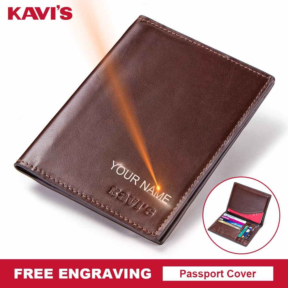 KAVIS Free Engraving Name Passport Cover Genuine Cow Leather Small ID Card Holder Travel Credit Men Wallet Purse Case Thin