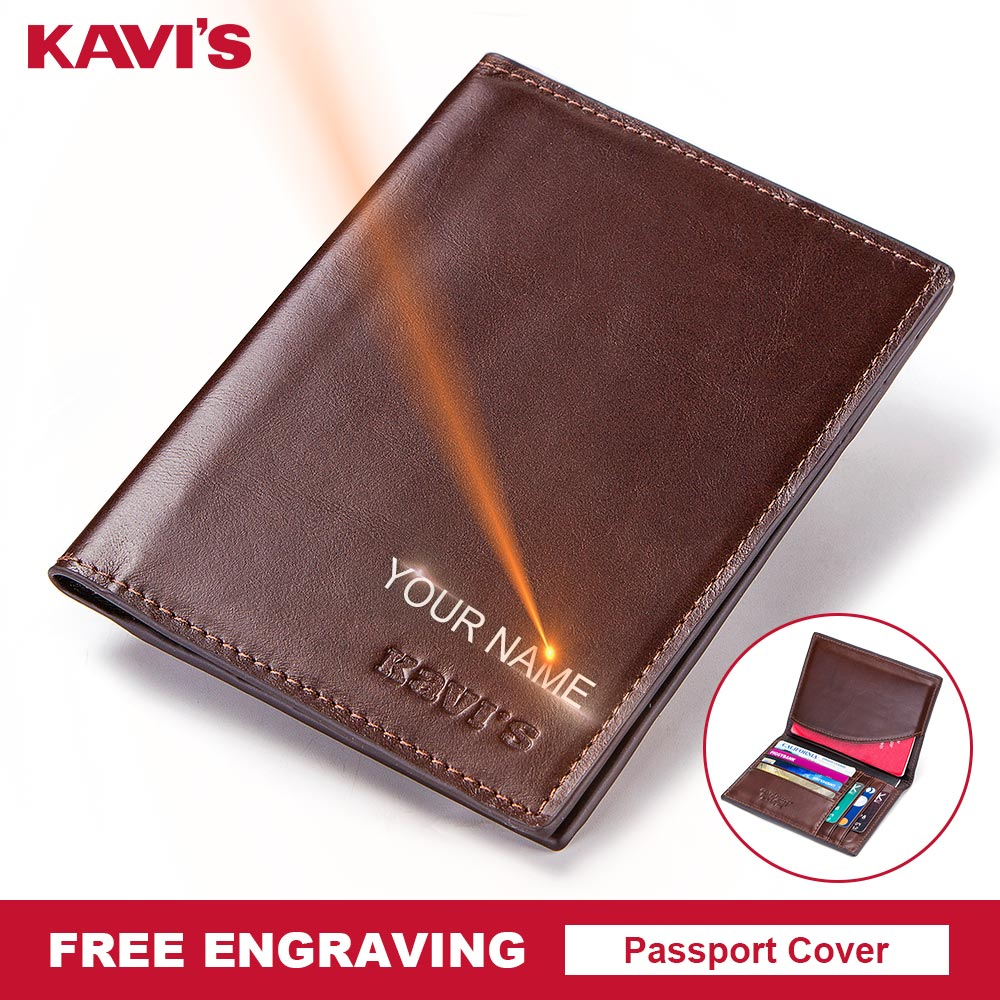 KAVIS Free Engraving Name <font><b>Passport</b></font> Cover Genuine Cow Leather Small ID Card Holder Travel Credit Men Wallet Purse Case Thin image
