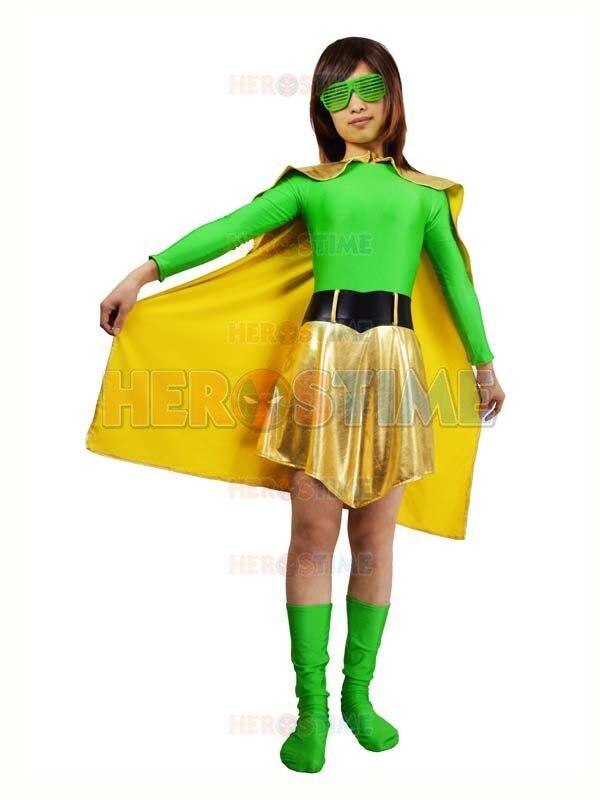 Spandex verde y Light Gold Metallic Superhero Costume disfraces de - Disfraces - foto 1